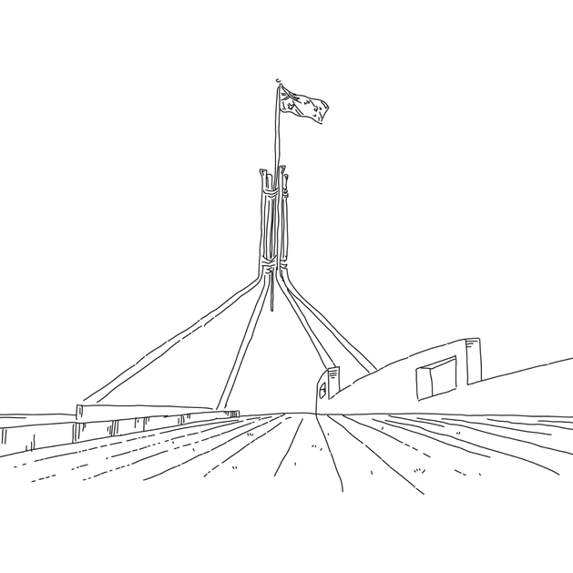 Image of Australian flag over parliament house