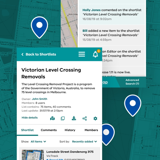 Image of some screens from govmap online mapping tool