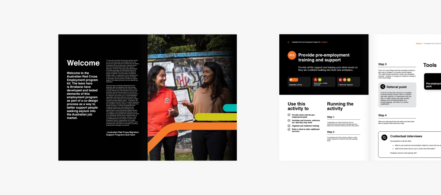 Two double page spreads from the Employment program booklet on a grey background