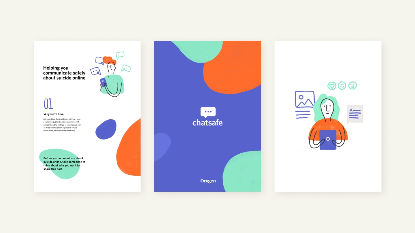 Three pages from the chatsafe guidelines featuring their branding style with representation of young people and coloured blobs