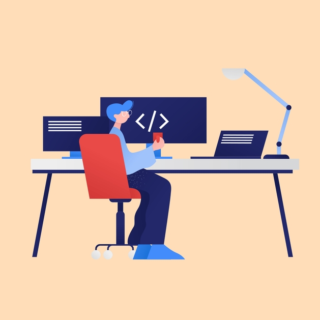 Image of a person holding a mug and working at a desk with multiple screens - imagery from https://icons8.com