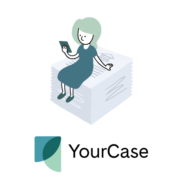 Image of a person with long hair using a phone while sitting on a stack of papers that feature a court symbol, above the YourCase logo