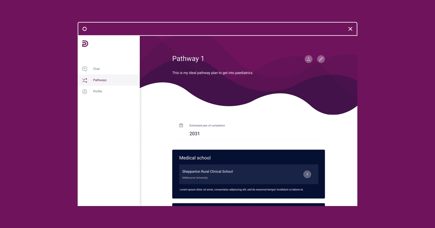 Image of the Dr Pathway web application in a desktop tab on a purple background
