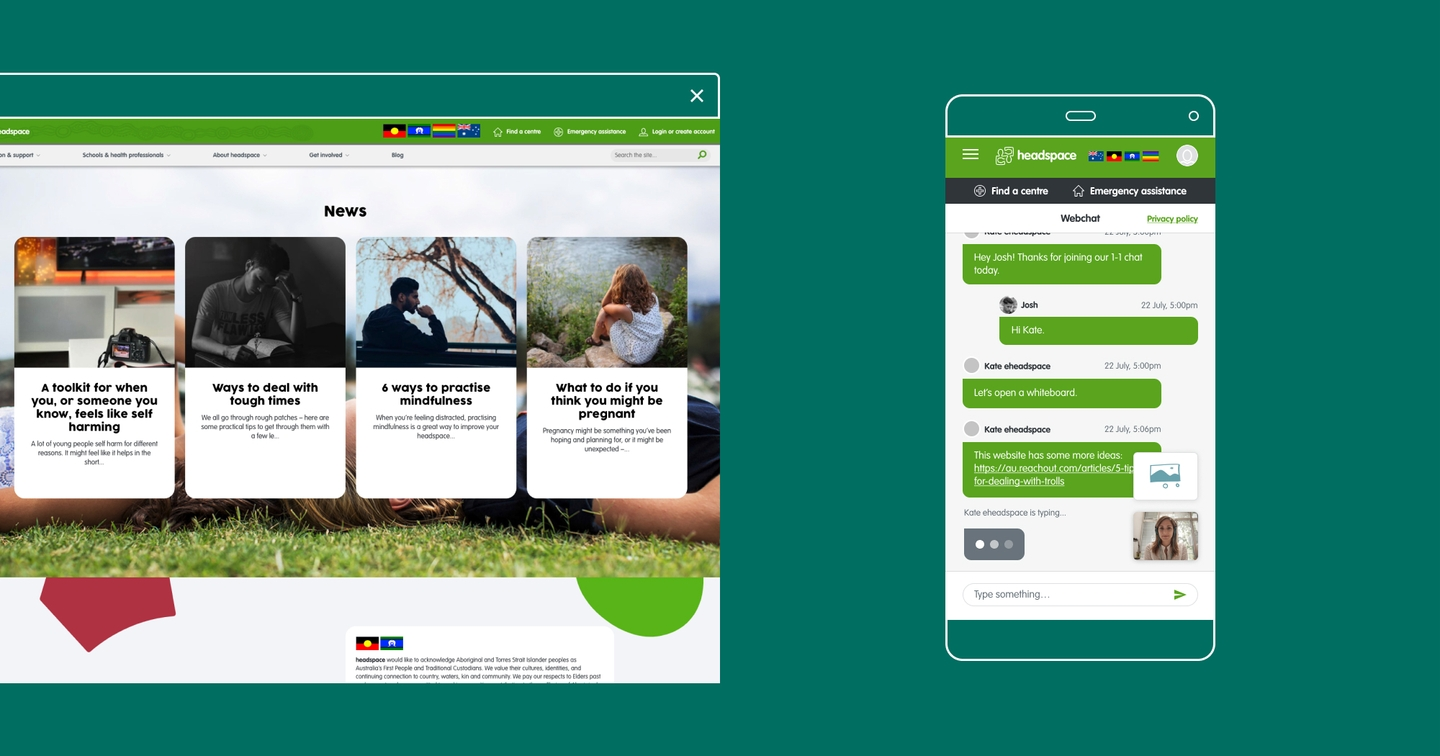 Image of a desktop tab and a phone screen displaying the headspace website and chat platform, over a green background