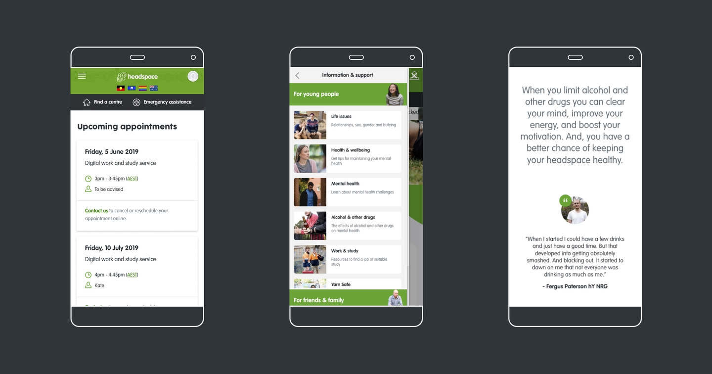image of three phone screens showing the headspace website, over a dark grey background